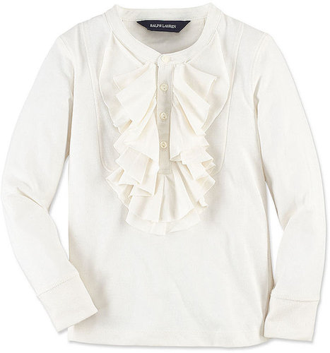 Ralph Lauren Kids Shirt, Little Girls Long-Sleeve Ruffle Bib Henley