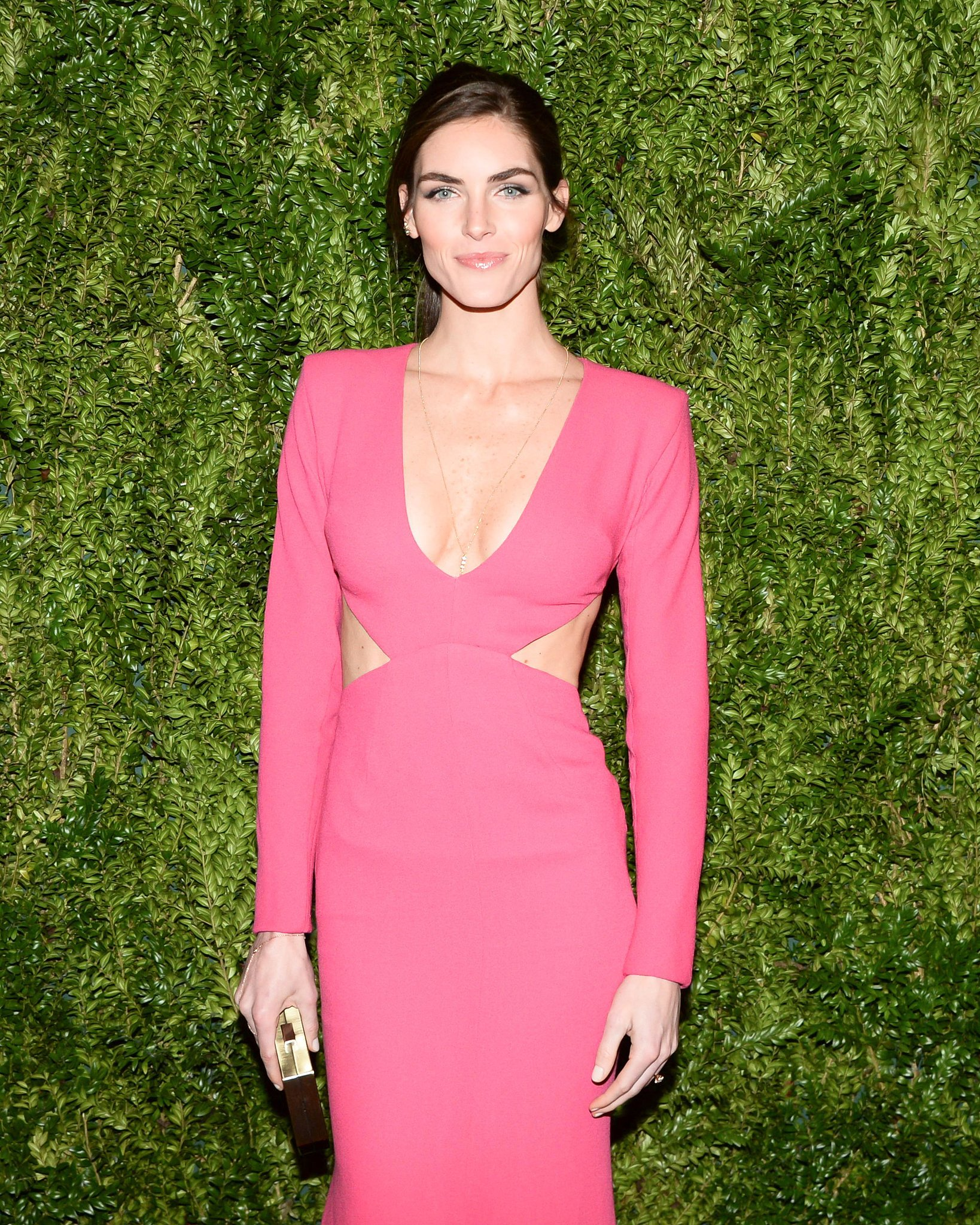 Glossy lips and a piecey updo were Hilary Rhoda's look of the night.