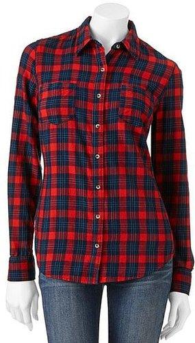 So ® plaid flannel button-front top - juniors