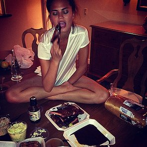 Chrissy-Teigen-enjoyed-some-ribs-potato-salad-upon-returning