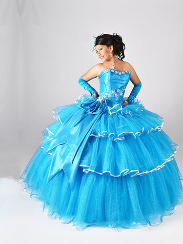 BallGown Strapless Tulle Satin Floor-length Blue Appliques Quinceanera Dress at sweetquinceaneradress.com