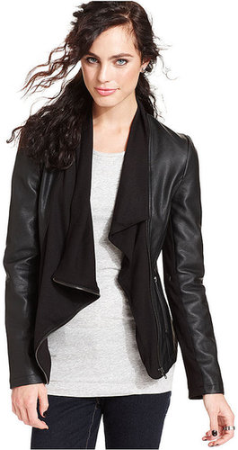 Olive & Oak Jacket, Long-Sleeve Faux-Leather Draped