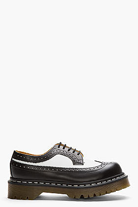 DR. MARTENS Black & White Leather 5-Eye Longwing Brogues