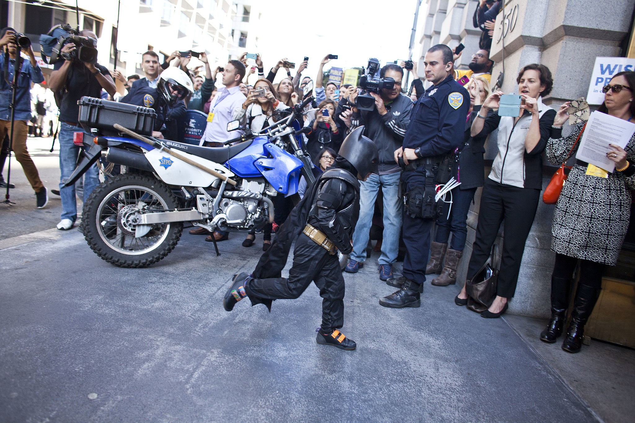 Batkid rushed inside the f