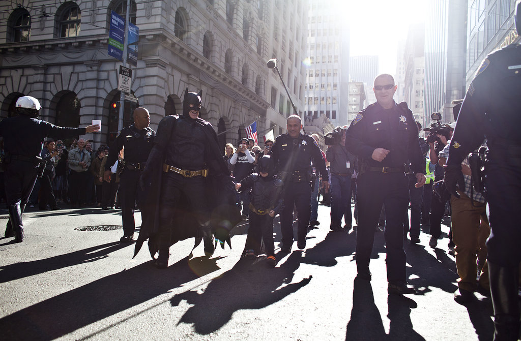 """Batkid walked along the streets of San Francisco, which was transformed into """"Gotham City"""" for the day."""