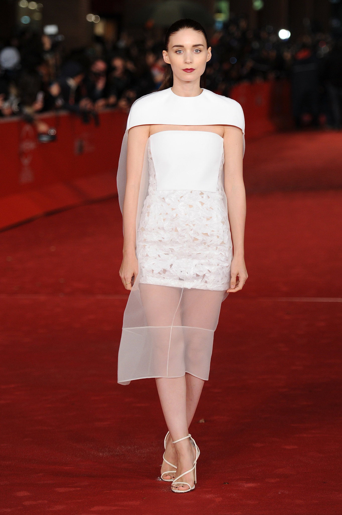 Rooney Mara gave sheer a shot while on the red carpet for Her in an alluring white Balenciaga design.