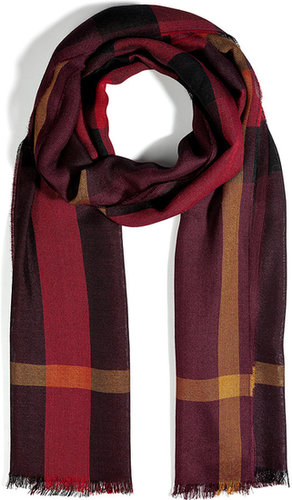 Burberry London Silk Cashmere Scarf in Deep Burgundy