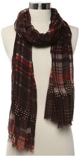 Steve Madden - Printed Plaid Scarf (Brown) - Accessories
