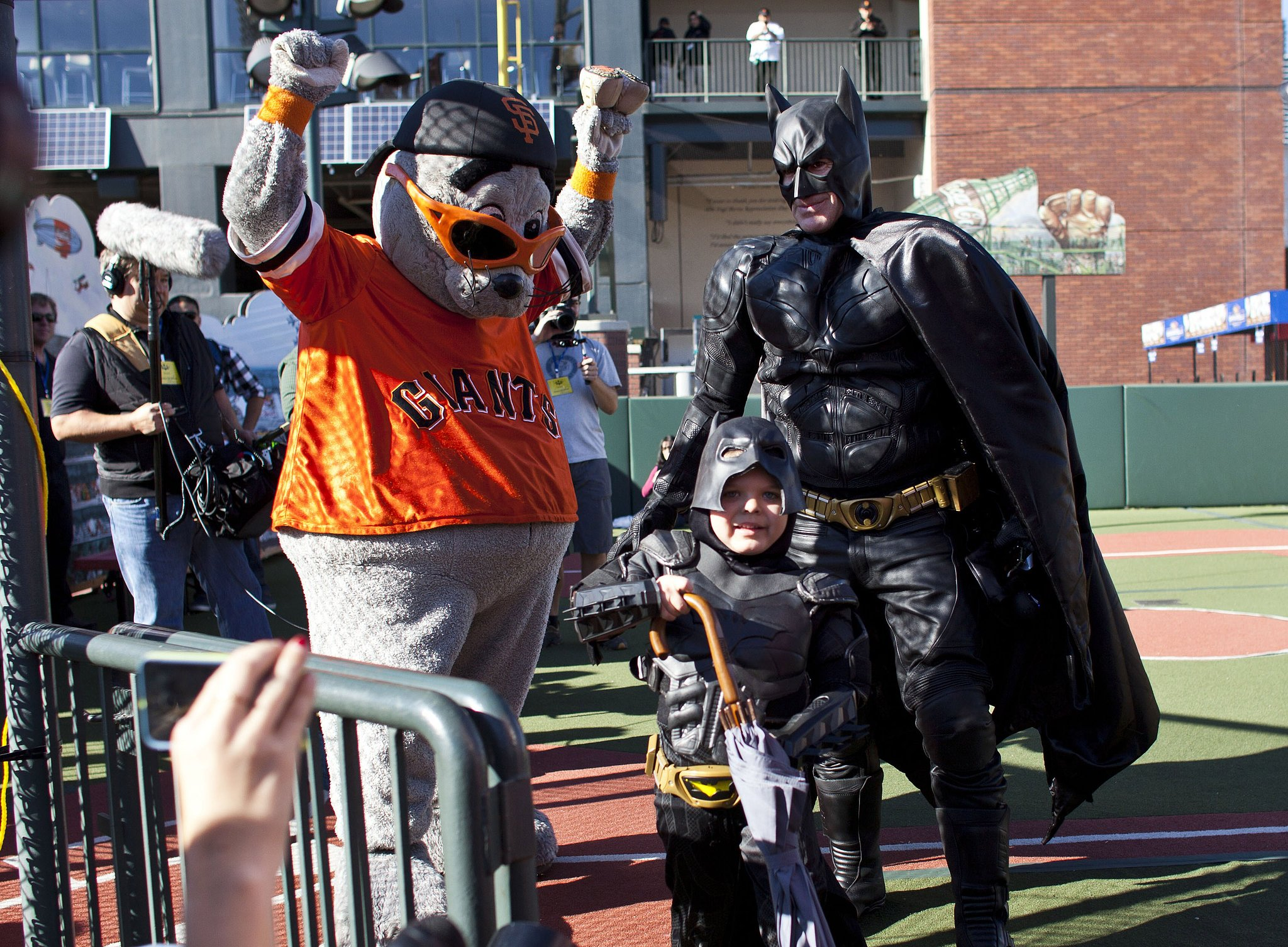 Lou Seal celebrated after be