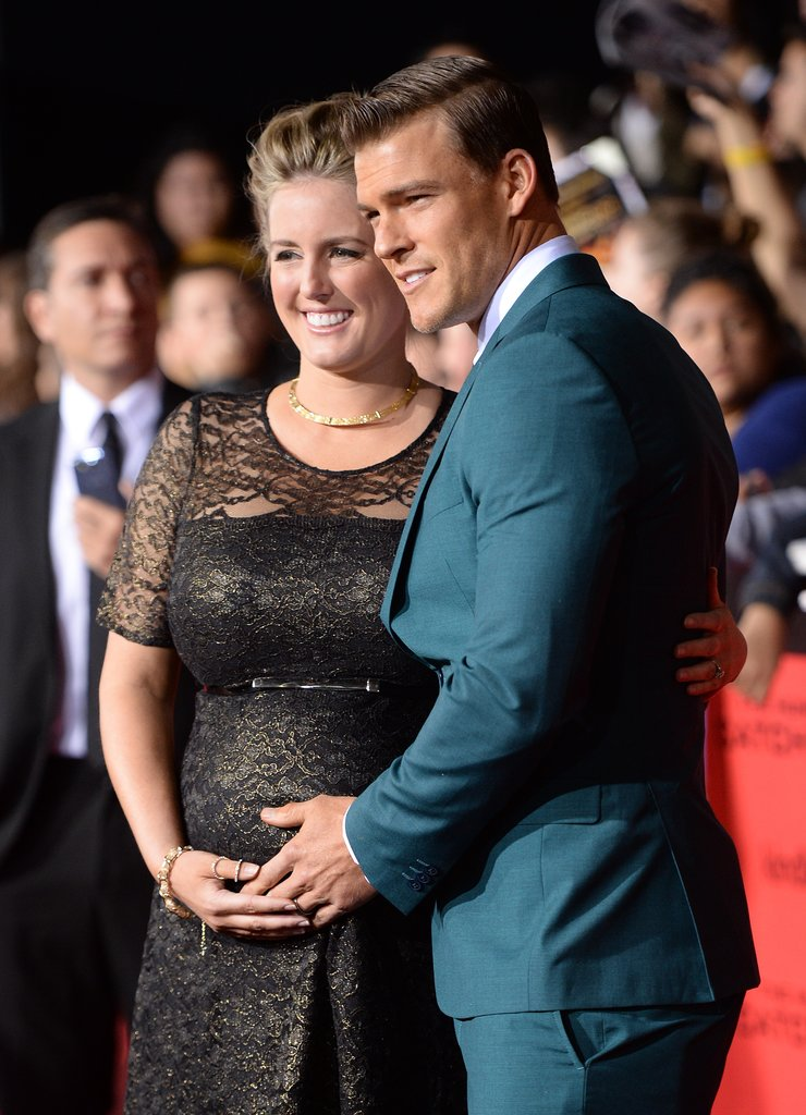Alan Ritchson held the hand of his pregnant wife, Catherine.