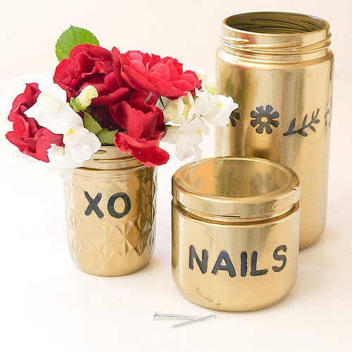 Gold Spray-Painted Jars