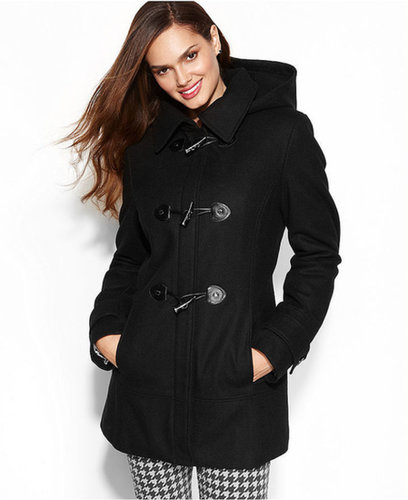 Calvin Klein Petite Coat, Faux-Leather-Trim Toggle Wool-Blend