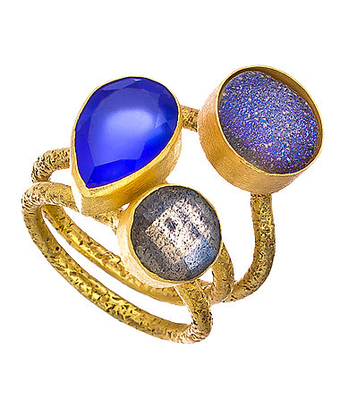 Kanupriya Druzy Triple Gemstone Ring Set