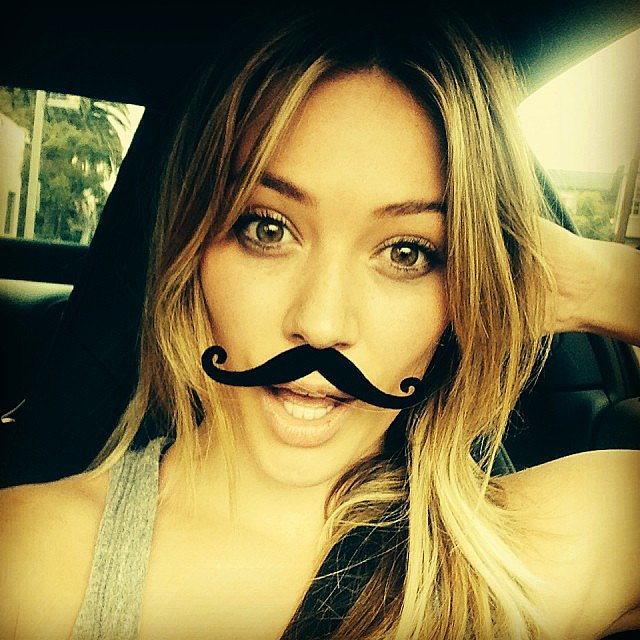 Hilary Duff showed support for the Movember movement with a fake mustache. Source: Instagram user hilaryduff