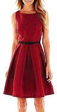 Danny & Nicole® Pleated Polka Dot Dress