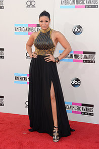 Hello-legs-Jordin-Sparks-struck-fierce-pose-edgy-black-gown