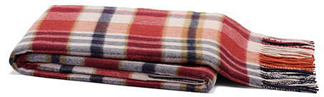Cashmere-Blended Plaid Throw, Red