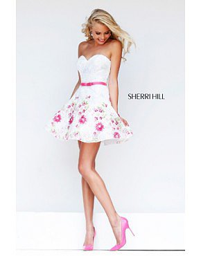 2014 Sherri Hill 4310 Multi Embellished Dress White/Pink