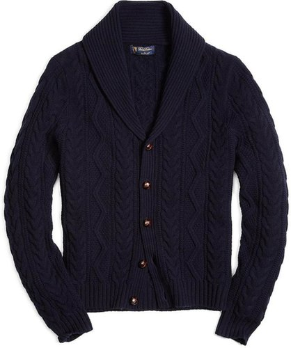 SaxxonTM Wool Shawl Collar Fisherman Cardigan