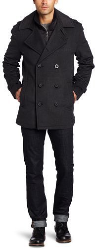 Marc New York by Andrew Marc Men's Holbrook Wool Herringbone Peacoat