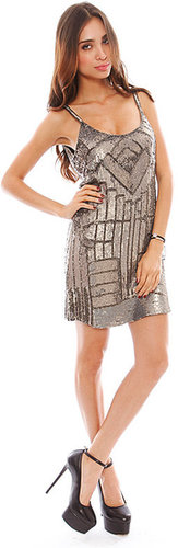 Parker Hayden Combo Sequin Dress in Gunmetal
