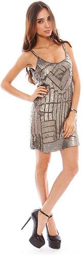 Parker Hayden Combo Sequin Dress in Gunmetal
