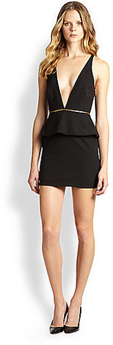 Bec & Bridge Christie Deep-V Zipped Peplum Body-Con Dress