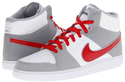 Nike - Backboard II Mid (White/Wolf Grey/White/University Red) - Footwear