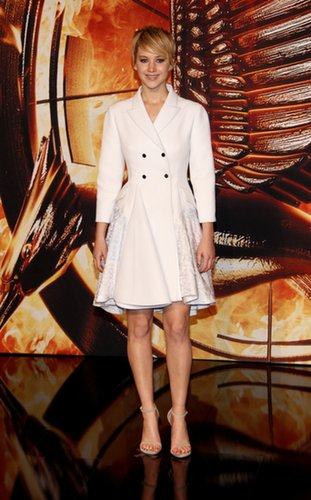 Jennifer Lawrence in Dior Coat Dress