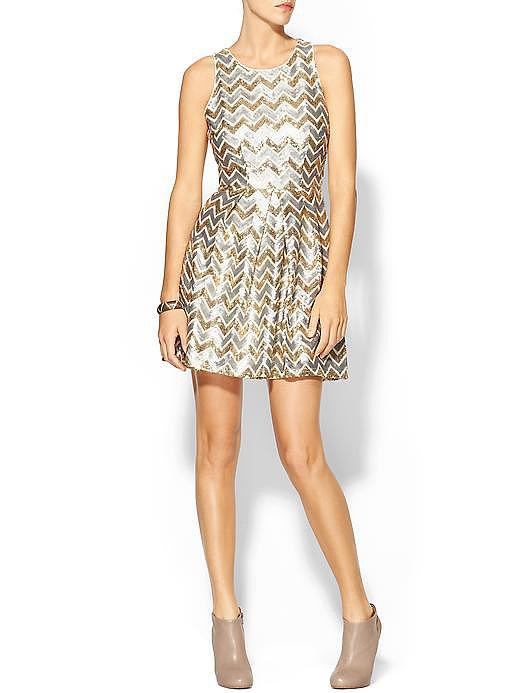 Be a standout in this Ark & Co. Sequin Chevron Dress ($98) with its pretty gold details.