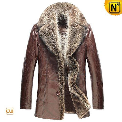 Men Shearling Sheepskin Coats with Raccoon Fur Trim CW868889