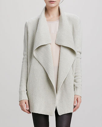 Vince Ribbed Drape-Collar Cardigan, Ivory