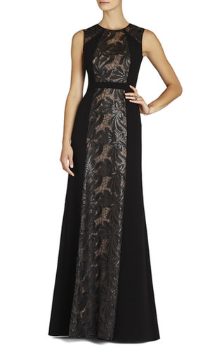 BCBG Linden Leaf Embroidered Gown Dress