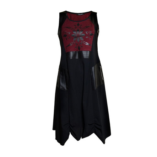 Sophie B Red Two Tone Black Sleeveless Dress