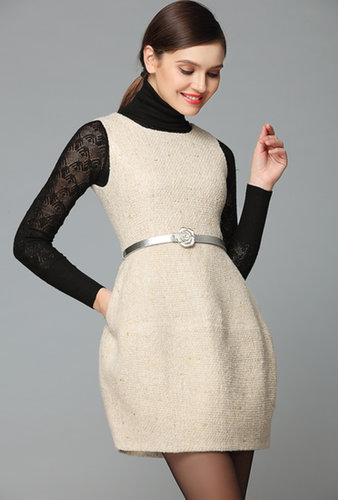 Apricot Sleeveless Belt Tweed Pockets Dress - STDRESSES
