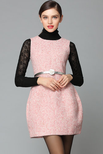 Pink Sleeveless Belt Tweed Pockets Dress - STDRESSES