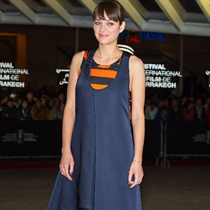 Marion Cotillard Navy and Orange Dress