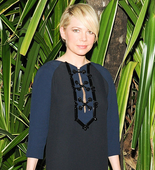 Michelle Williams in Louis Vuitton Black and Blue Dress