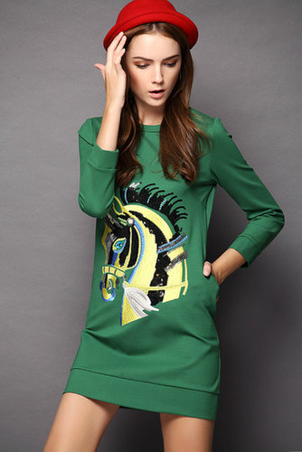 Green Long Sleeve Horse Sequined Dress - STDRESSES