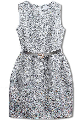Grey Sleeveless Belt Tweed Pockets Dress