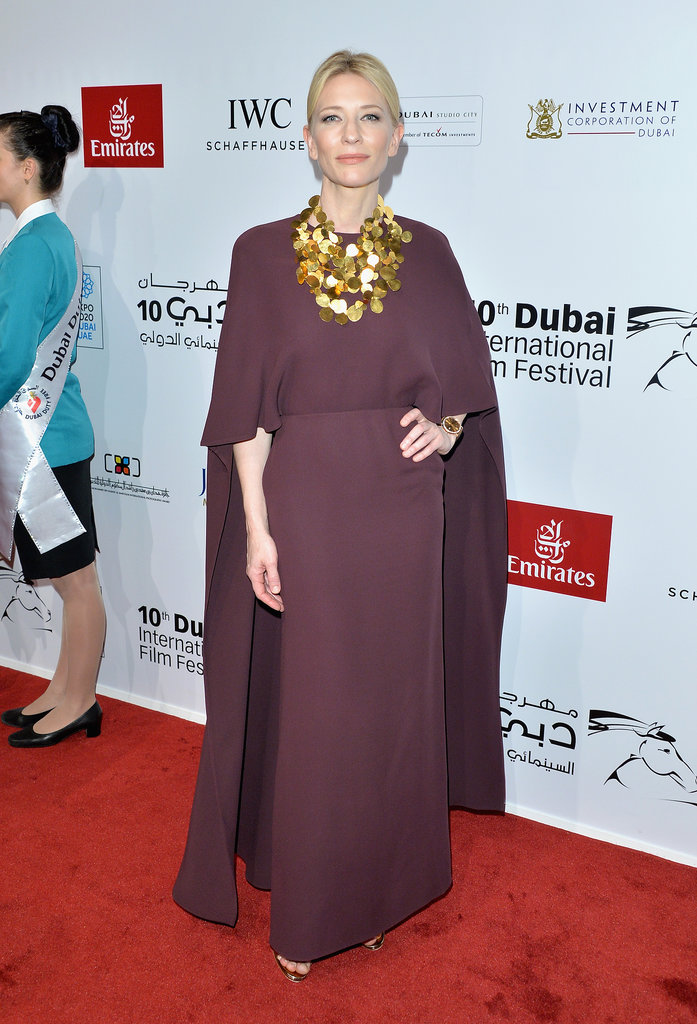 For the Opening Night Gala of the Dubai International Film Festival, Cate Blanchett arrived in a bold silhouette from Valentino's Spring 2014 collection. As if the plum design wasn't dramatic enough on its own, she dared to add a statement necklace —and we approve.