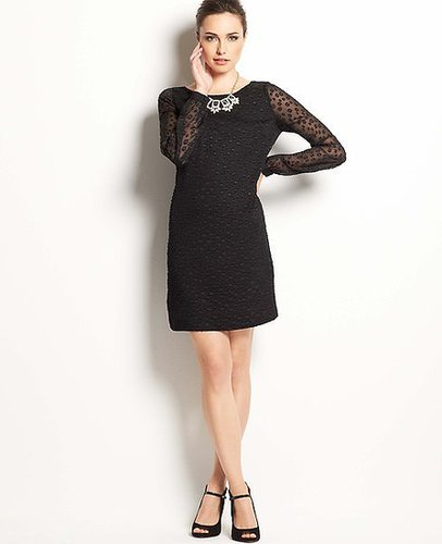 Sheer Dot Shift Dress