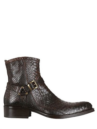 Buckled Python Ankle Boots