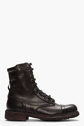 DIESEL Black leather basic Cassidy boot