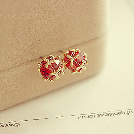 [grxjy5300138]Clover Red Crystal Office Ladies Charming Shiny Stud Earrings Accessory