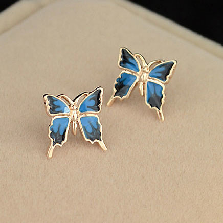 [grxjy5300139]Beautiful Butterfly Blue Allergy Free Elegant Stud Earrings Accessory
