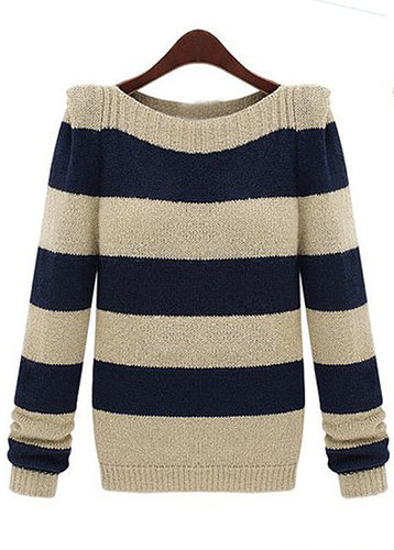 Splicing Round Neck Sweater