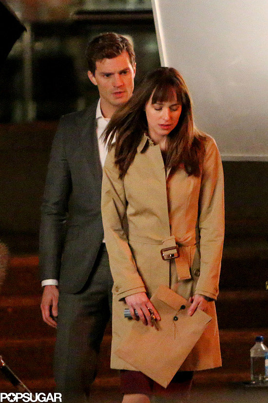 Dornan and Johnson filmed a night scene.