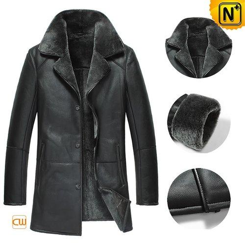 Black Sheepskin Coats for Men CW877180