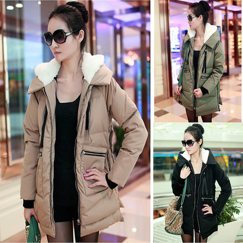 Discount Plus size Korean winter thick ladies' down jackets with rabbit fur collar hooded in women down parkas on sightface.com